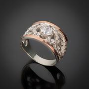 Серебряные кольца и серьги оптом. Изделия из серебра с золотыми вставками.