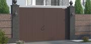 Уличные распашные ворота в алюминиевой раме